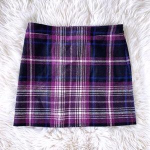 LOFT Purple Black White Plaid Wool Blend Skirt